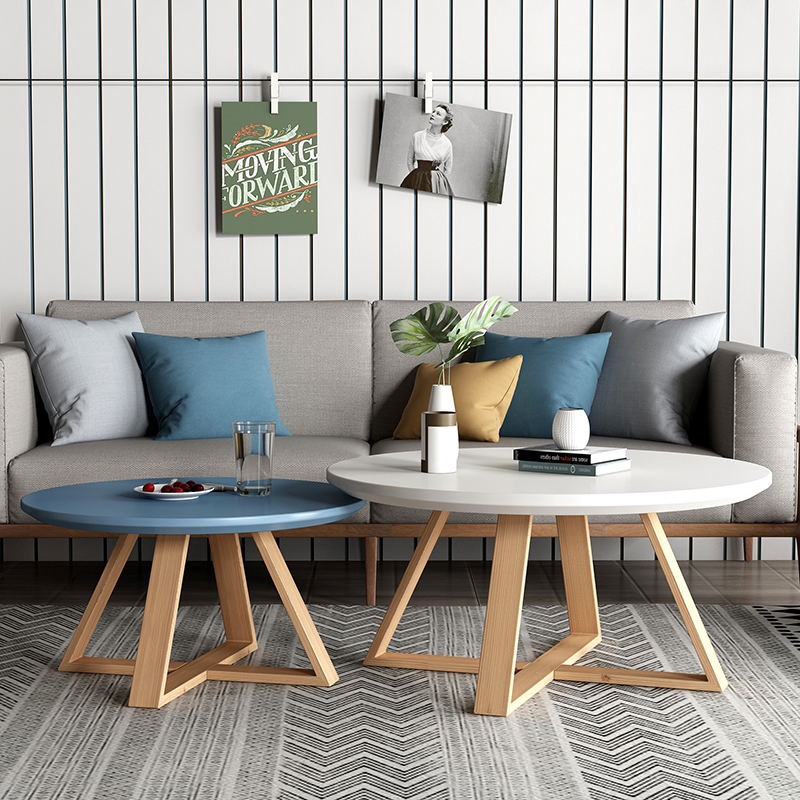 Nordic Small Coffee Table Simple Living Room Round Table Apartment Sofa Triangle Side Solid Wood Simple No Formaldehyde Shopee Malaysia