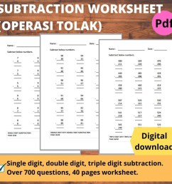 Printables Math Workbook Buku Latihan Matematik operasi tolak Subtraction  Worksheet Year 1 [ 1024 x 1024 Pixel ]