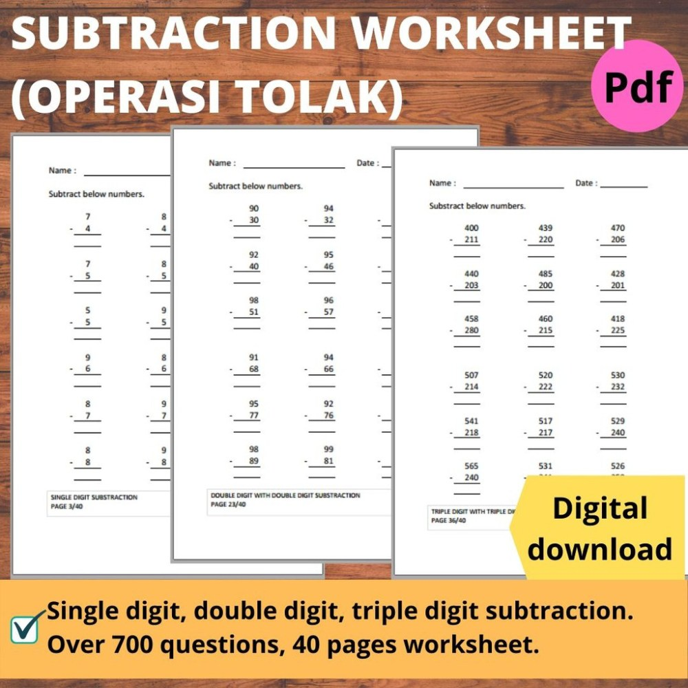 medium resolution of Printables Math Workbook Buku Latihan Matematik operasi tolak Subtraction  Worksheet Year 1