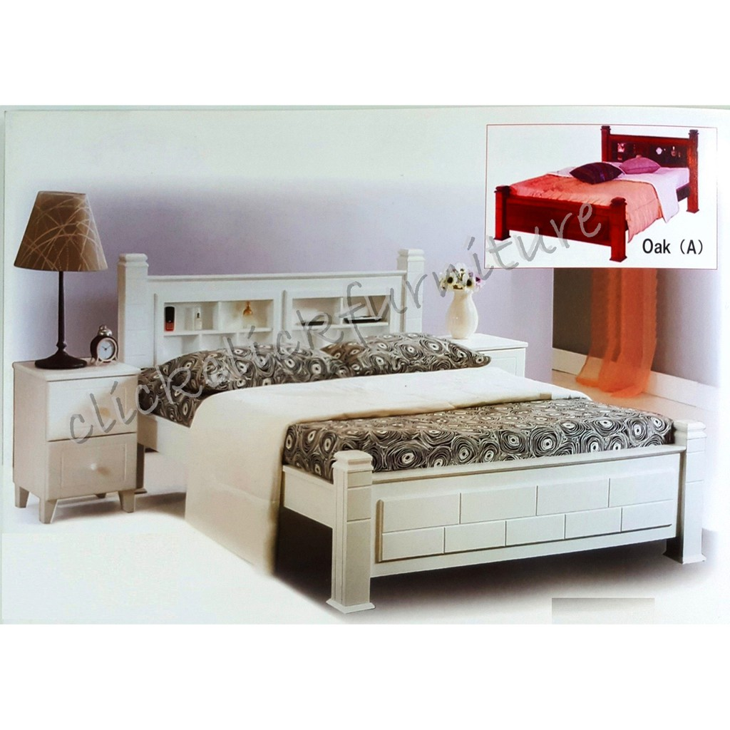 solid natural wood bed frame with storage headboard queen king