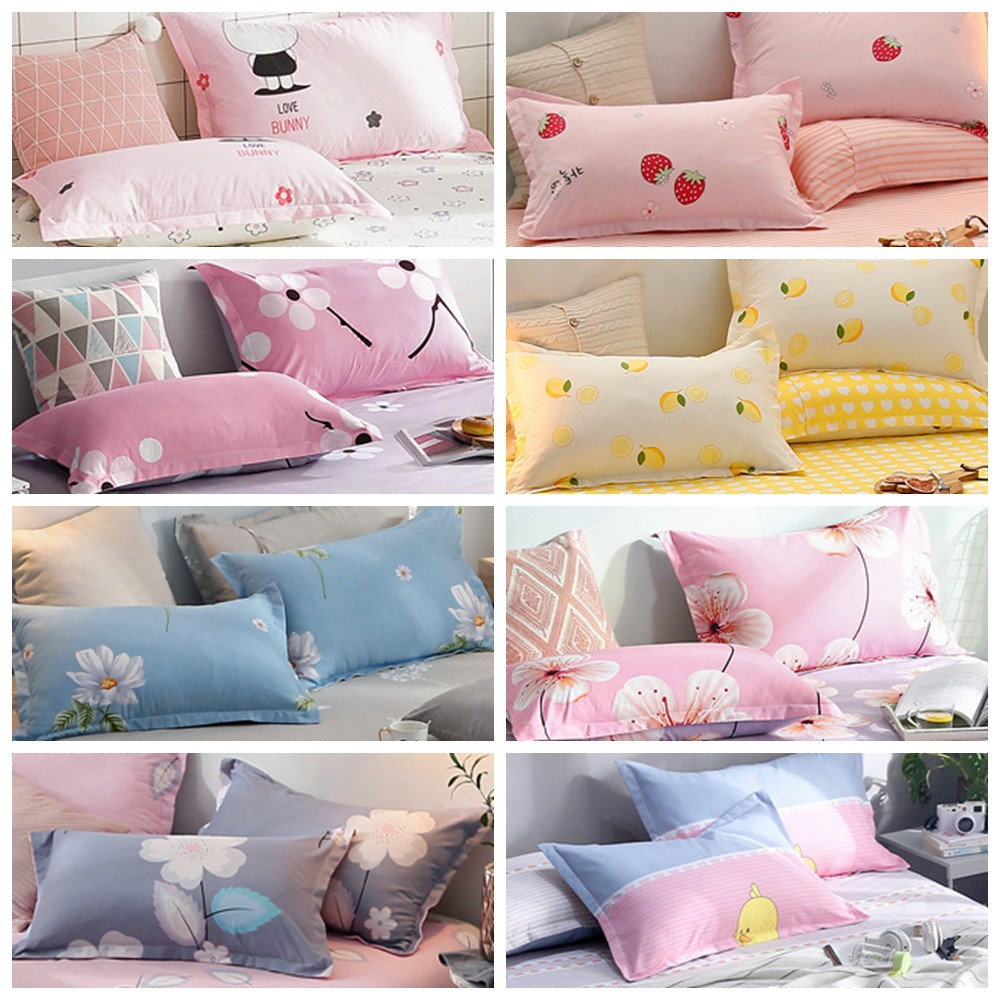 ready stock sarung bantal murah bed pillow cover 1pc pillowcase 48x74cm flower design butterfly print 18x29inch cushion cover soft pillow cover