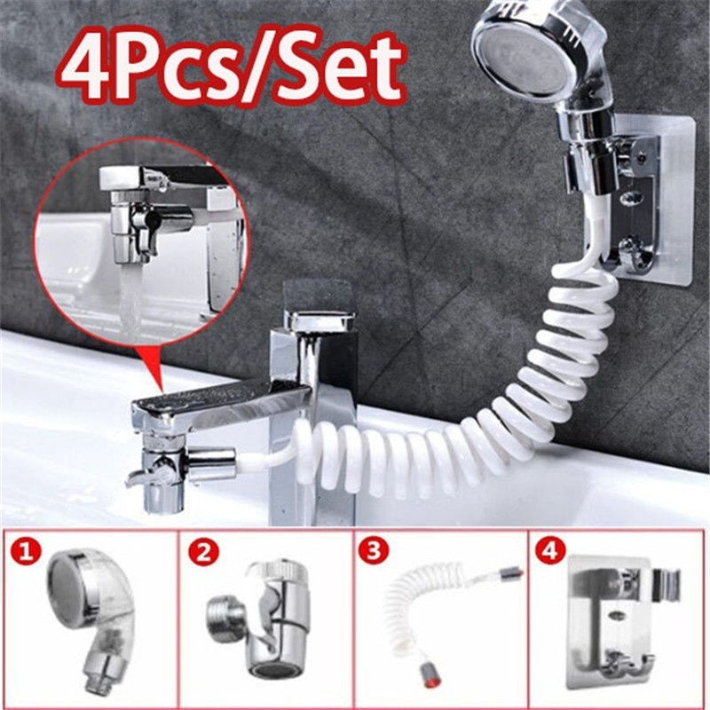 4pcs multifunction faucet shower head spray set washing hair sink connector handheld shower with hose