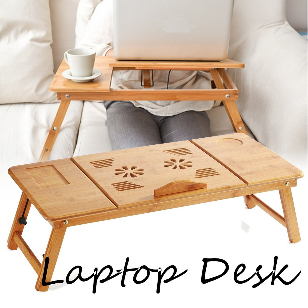 70cm Foldable Folding Lap Desk Bamboo Laptop Bed Table Stand Tray Adjustable Shopee Malaysia