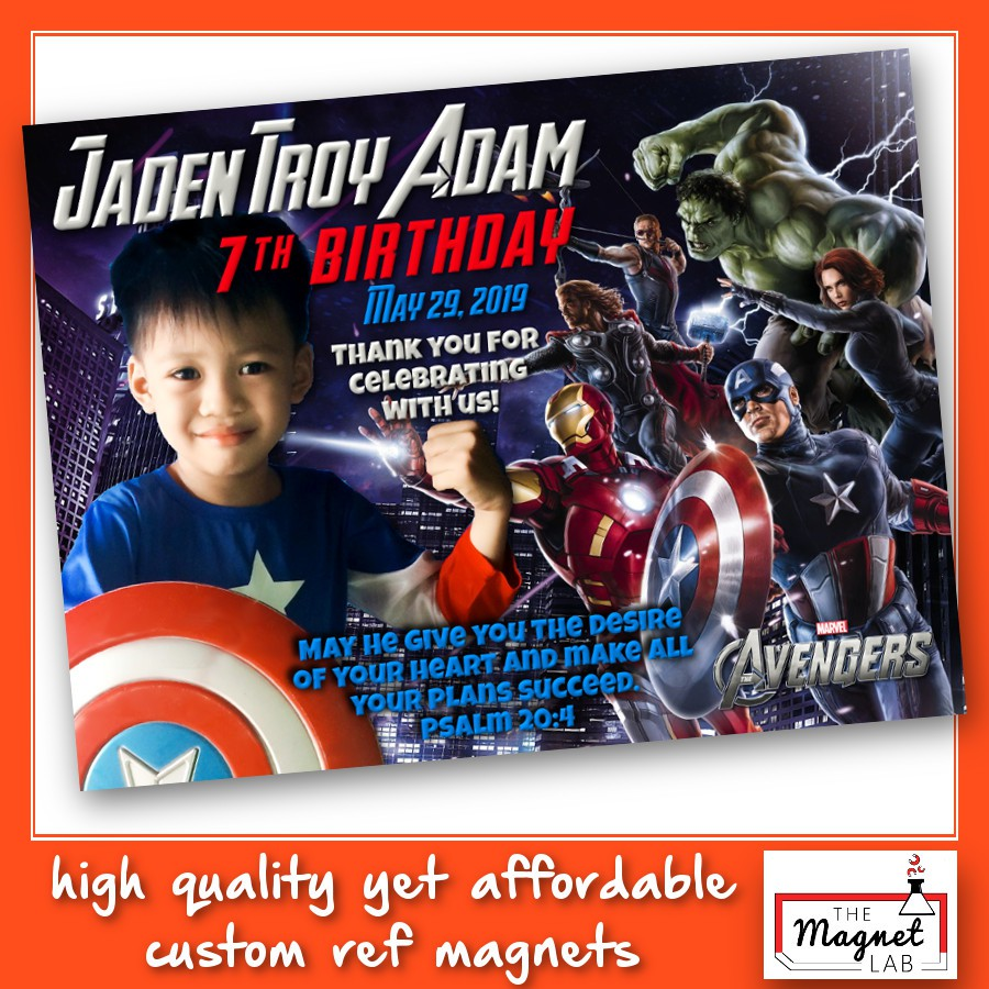 marvel avengers ref magnet souvenir birthday christening giveaways iron man thor captain america