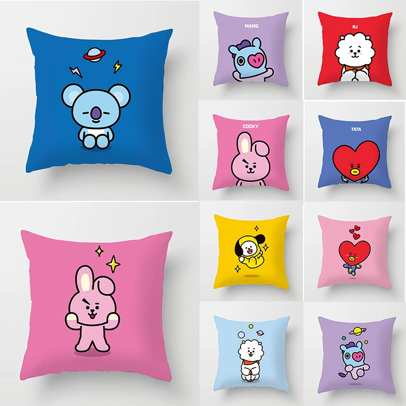 bt21 pattern one sided printing soft polyester pillow case square pillow cover sofa cushion cover