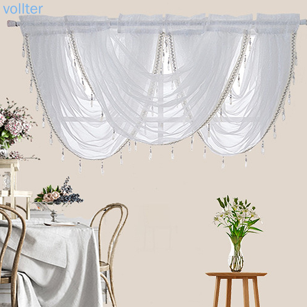 waterfall window valance swags sheer curtains rod pocket single window panel curtain living room vollter