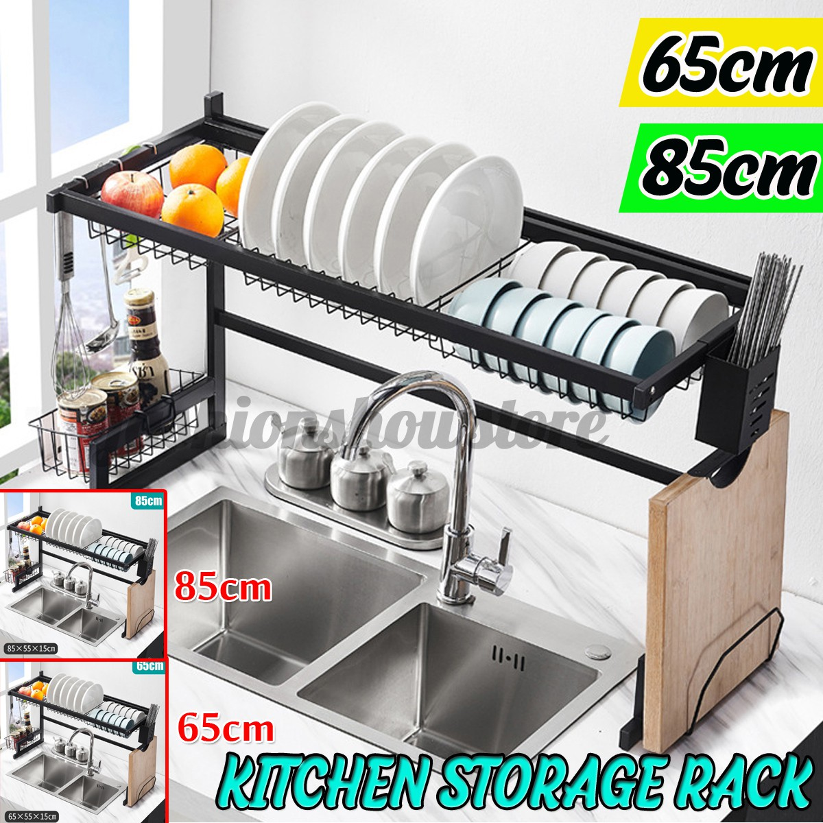 stainless steel large dish drainer drying rack kitchen storage holders 65 85cm