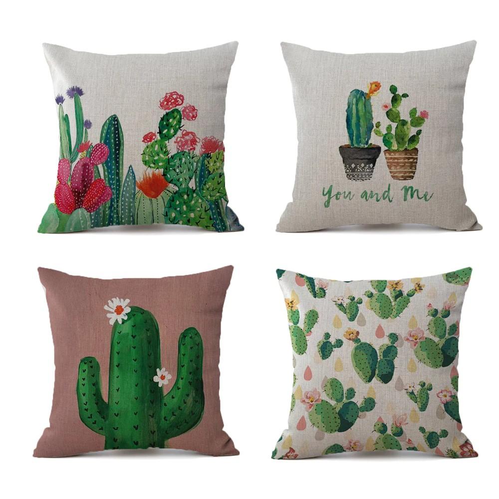 2021tropical plants cactus pillow case linen decorative pillowcases tropical cactus throw pillow case kussensloop almohada