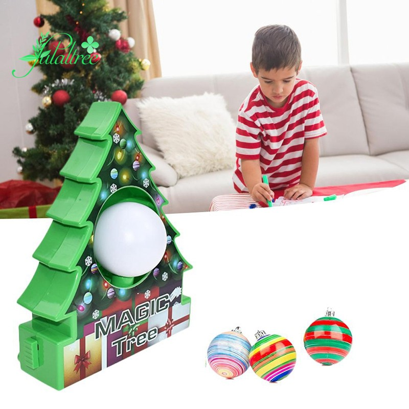 Diy Tree Rotate Drawing Ball Set Painting Machine Christmas Decoration Kids Electric Toys For Ch Shopee Philippines