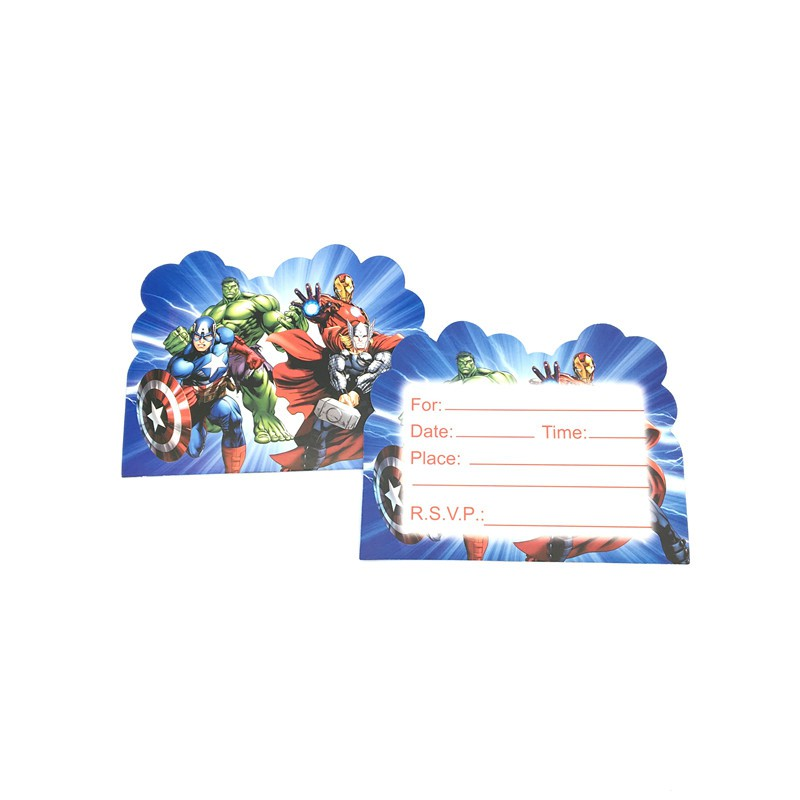 30pcs the avengers theme party invitation card for kids boys birthday festive supplies