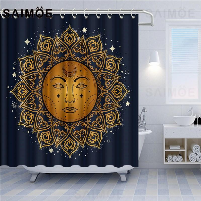 atomax bohemian shower curtains ethnic gypsy style home bath curtain sun moon and stars magic eyes bathroom curtain waterproof