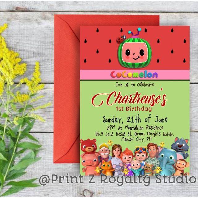 cocomelon invitation with colored envelope