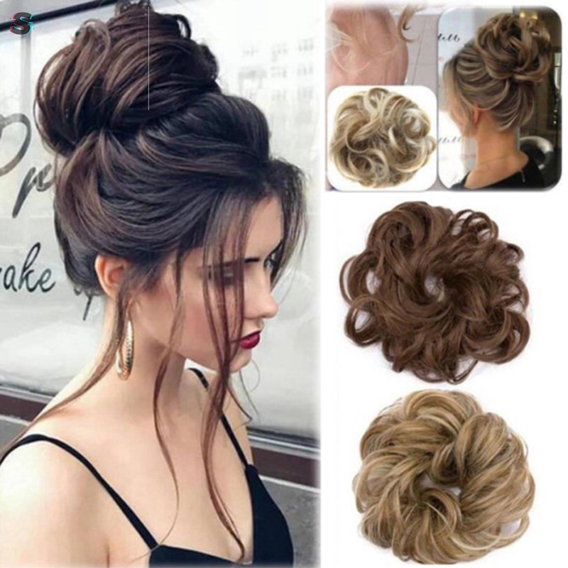 Easy To Wear Stylish Hair Scrunchies Naturally Messy Curly Bun