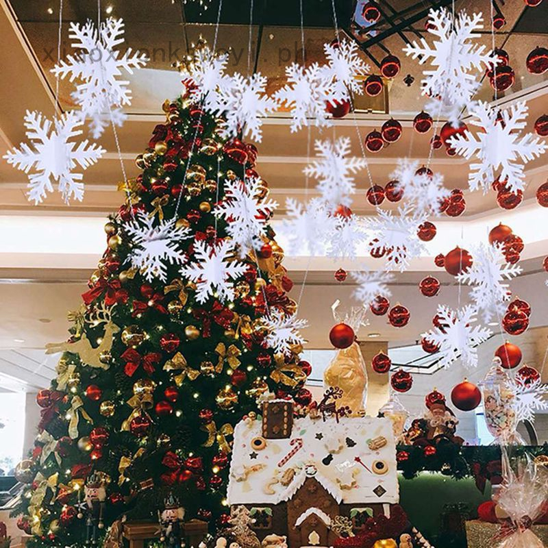 Xiaoxionkawayi Classic White Snowflake String Ornaments Kit Christmas Party Home Xmas Decor New Shopee Philippines