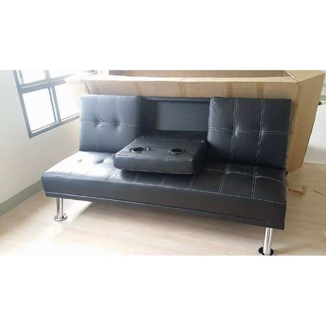 cod leather sofa bed with cup holder