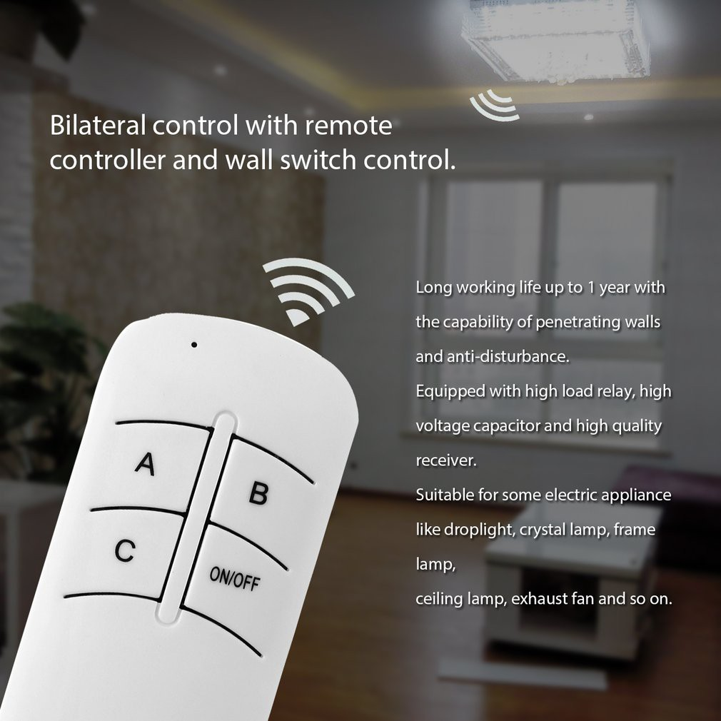 220v 3 way on off digital rf remote control switch wireless for light lamp