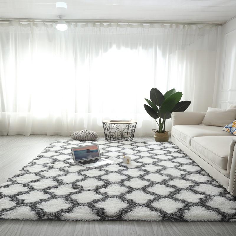 Modern Plush Moroccan Trellis Shag Area Rug, Luxury Velvet Shag Carpet, Modern Indoor Fluffy ...