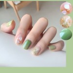 24pcs Marble Blooming Shell Gold Foil Wearing Nail Finished Fake Nails Waterproof Nail Patch Nail Patch Shopee Philippines