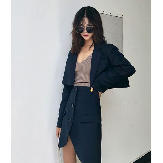 Women S Fashion Classy Business Formal Attire Blazer Skirt Shopee Philippines