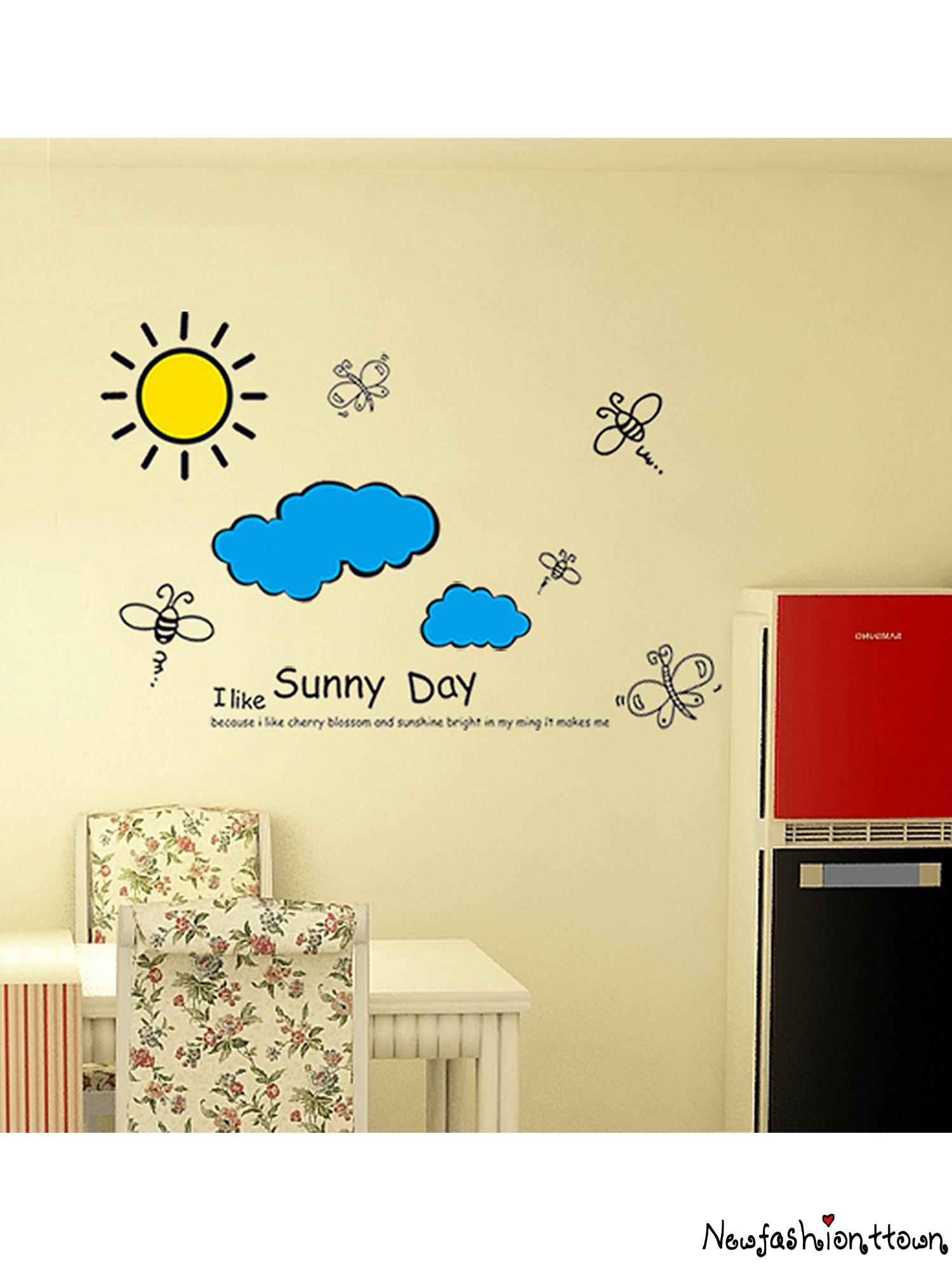 ღtwღwall Decals Sun Clouds Bee Butterfly Wall Stickers Cartoon Murals For Baby Nursery Room Wall Decor Shopee Philippines