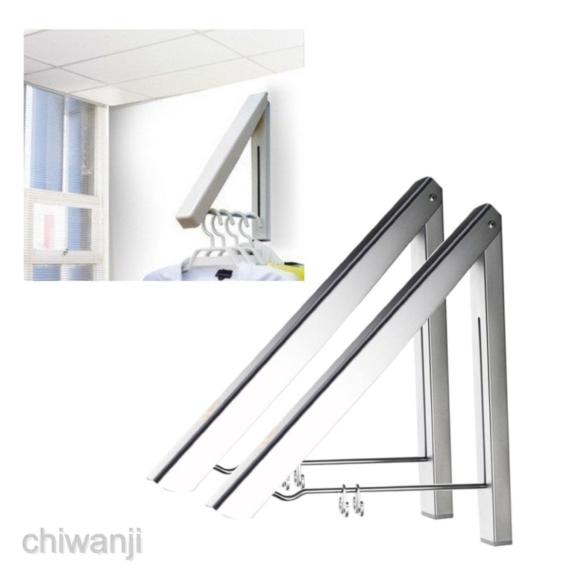 adjustable folding clothes rack hanger wall mounted retractable clothes rack