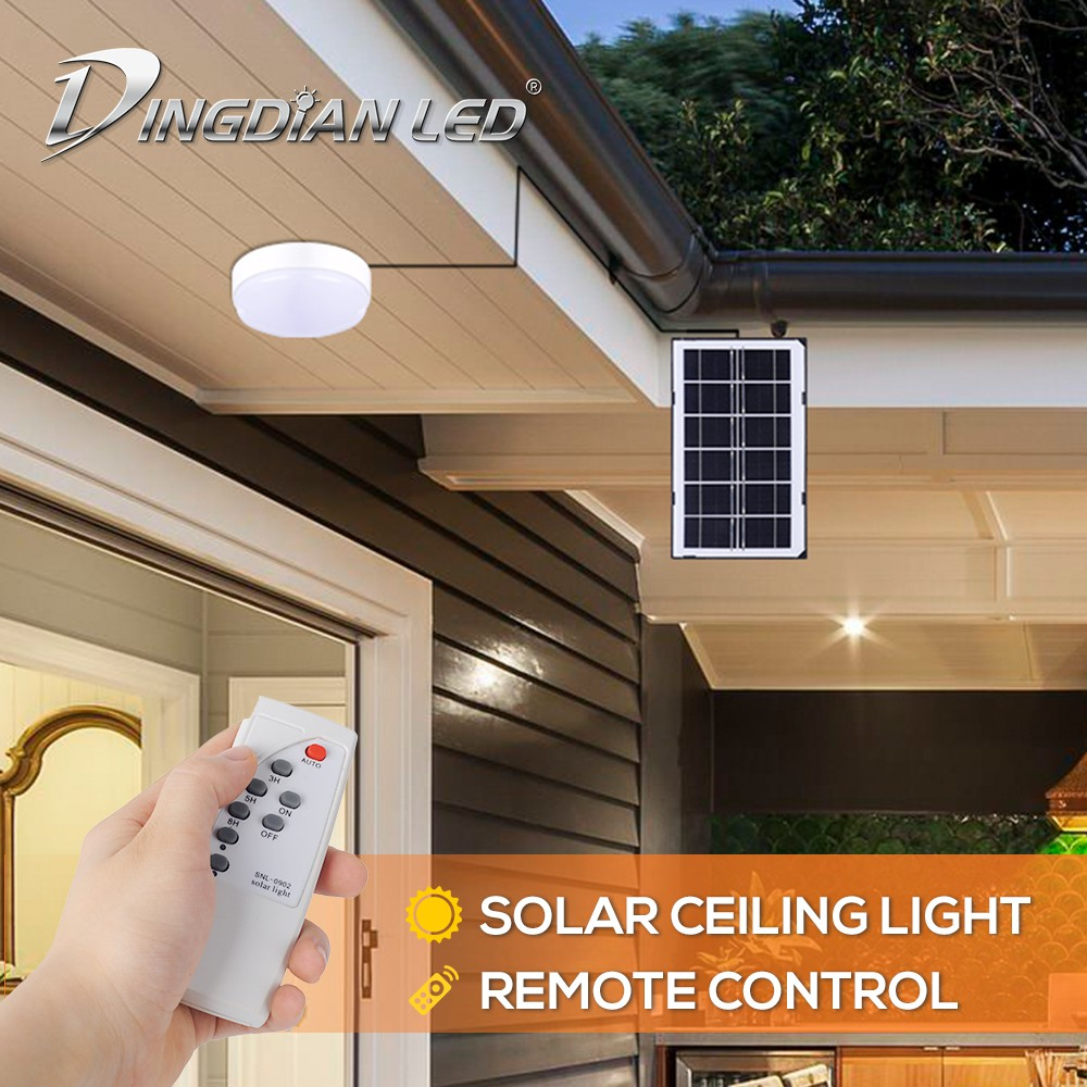 dingdian led solar led lights for ceiling 18w solar led ceiling light with remote control cold white solar barn light for shed yard patio garden