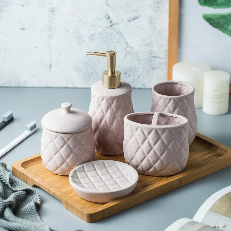Nordic Creative Ceramic Bathroom Wash Set Bathroom Ornaments Shopee Philippines