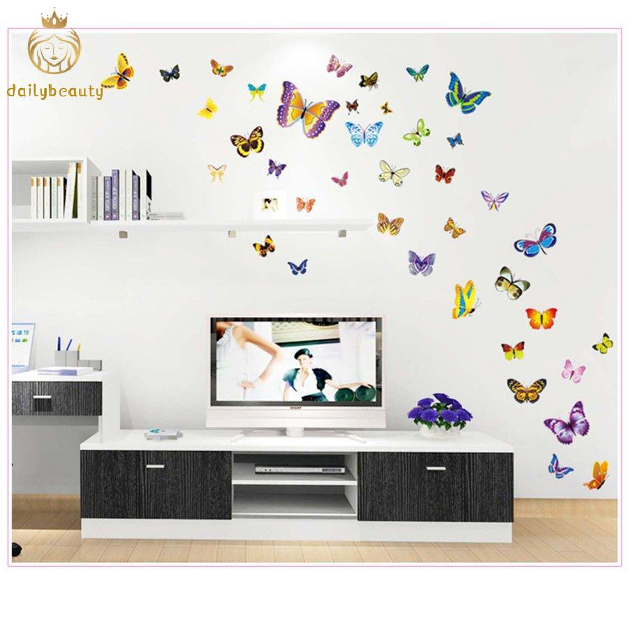 50pcs Butterfly Pattern Removable Wall Stickers Self Adhesive Wall Decoration Shopee Philippines
