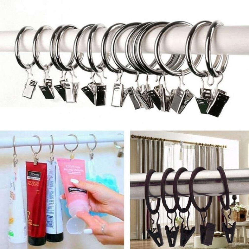 10pcs mini stainless steel window curtain hook metal rings clips with eyelets