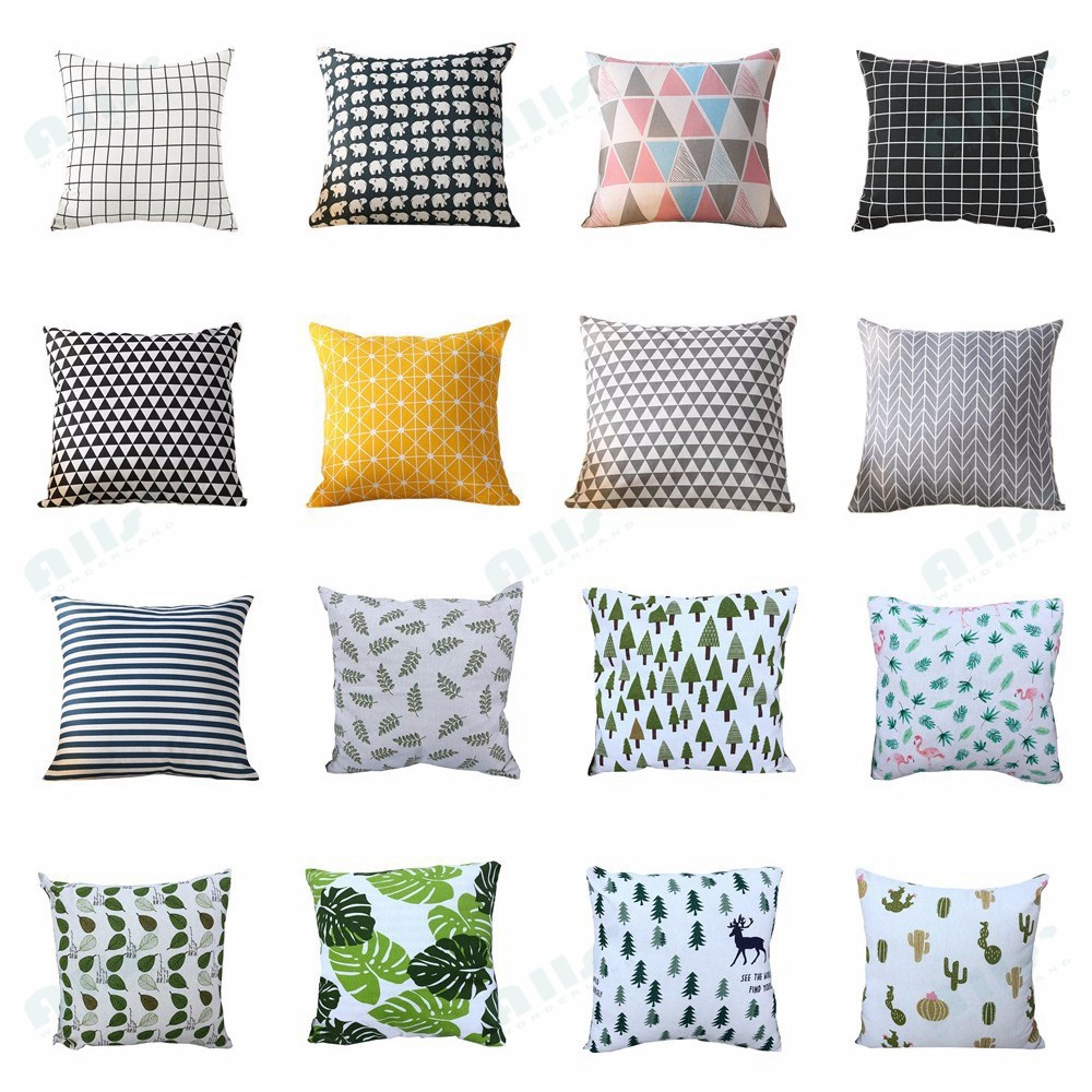 black and white throw pillow case cotton and linen cushion cover with hidden zipper