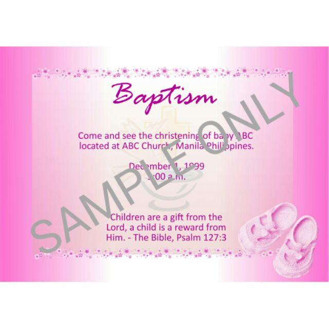 baptismal or 1st birthday invitation card minimum of 50 pcs