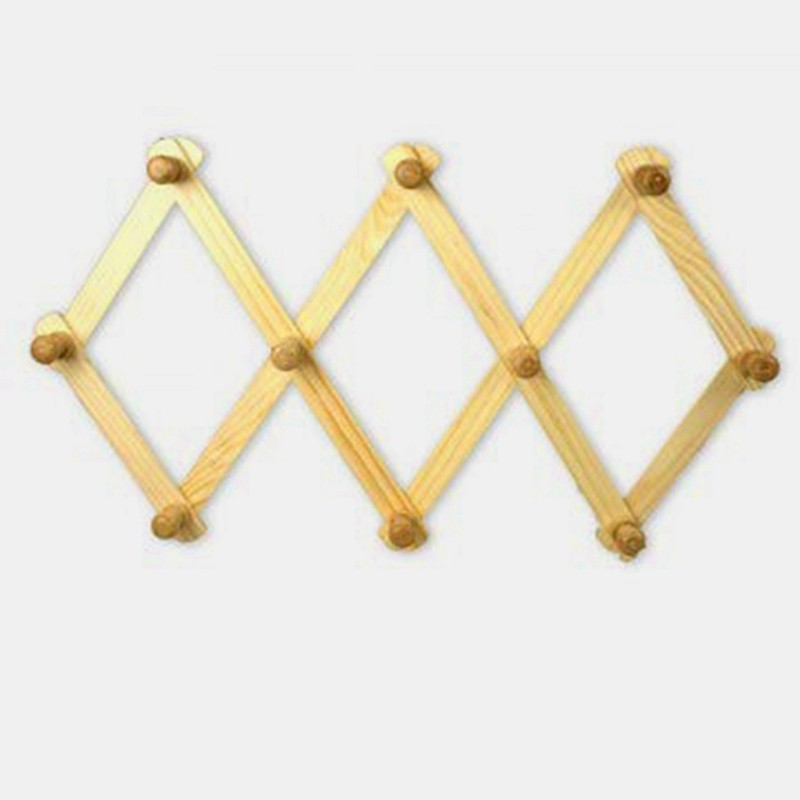 normal delivery 10 hooks of natural wood wall mounted expandable accordion peg coat rack hanger