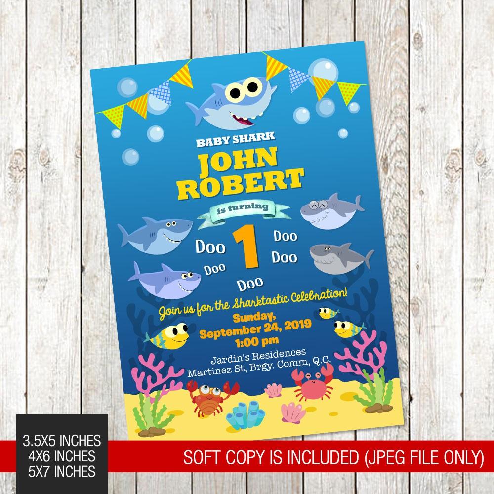 baby shark themed printed birthday invitation