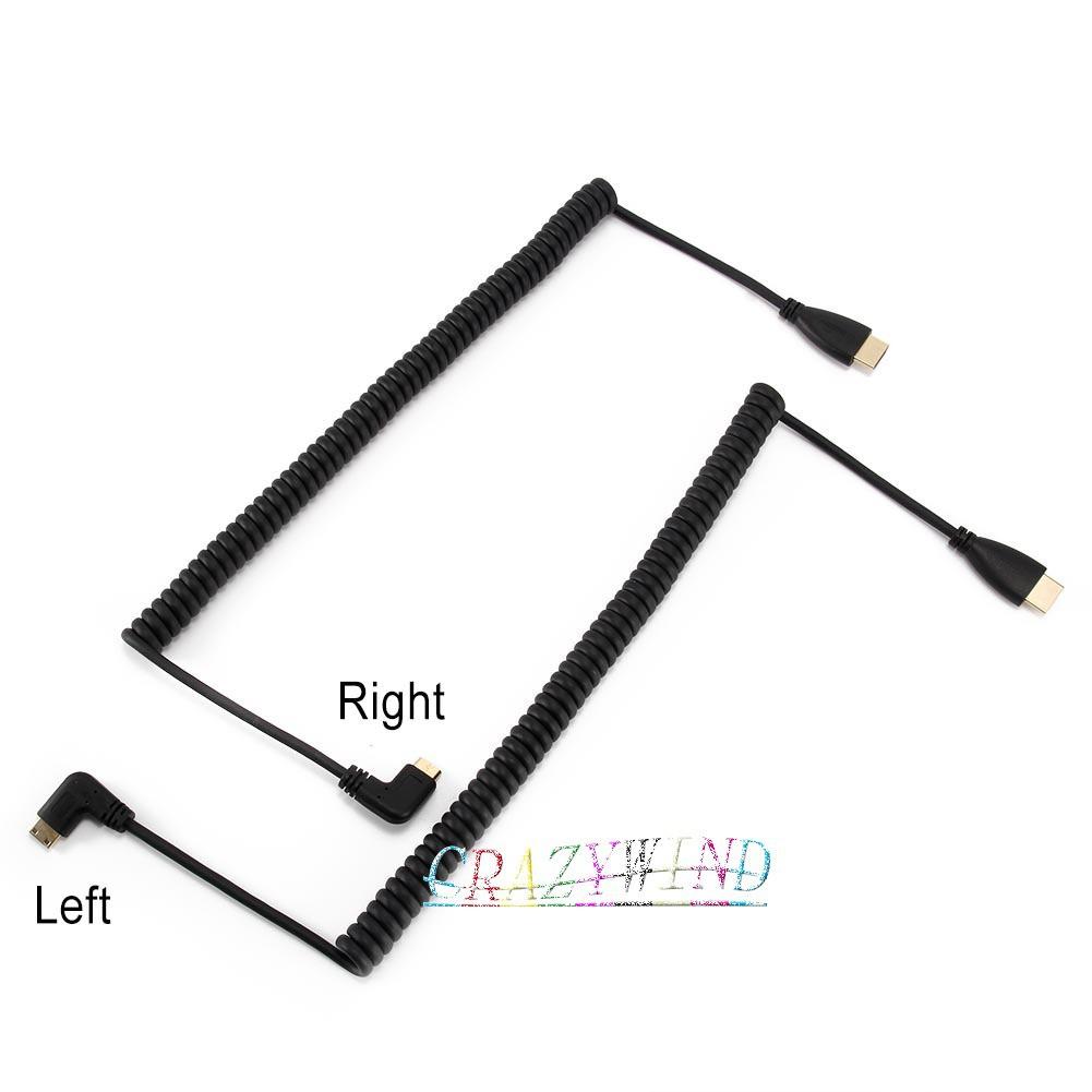 Mini HDMI to HDMI Spring Cable 1080P Left/Right Angle