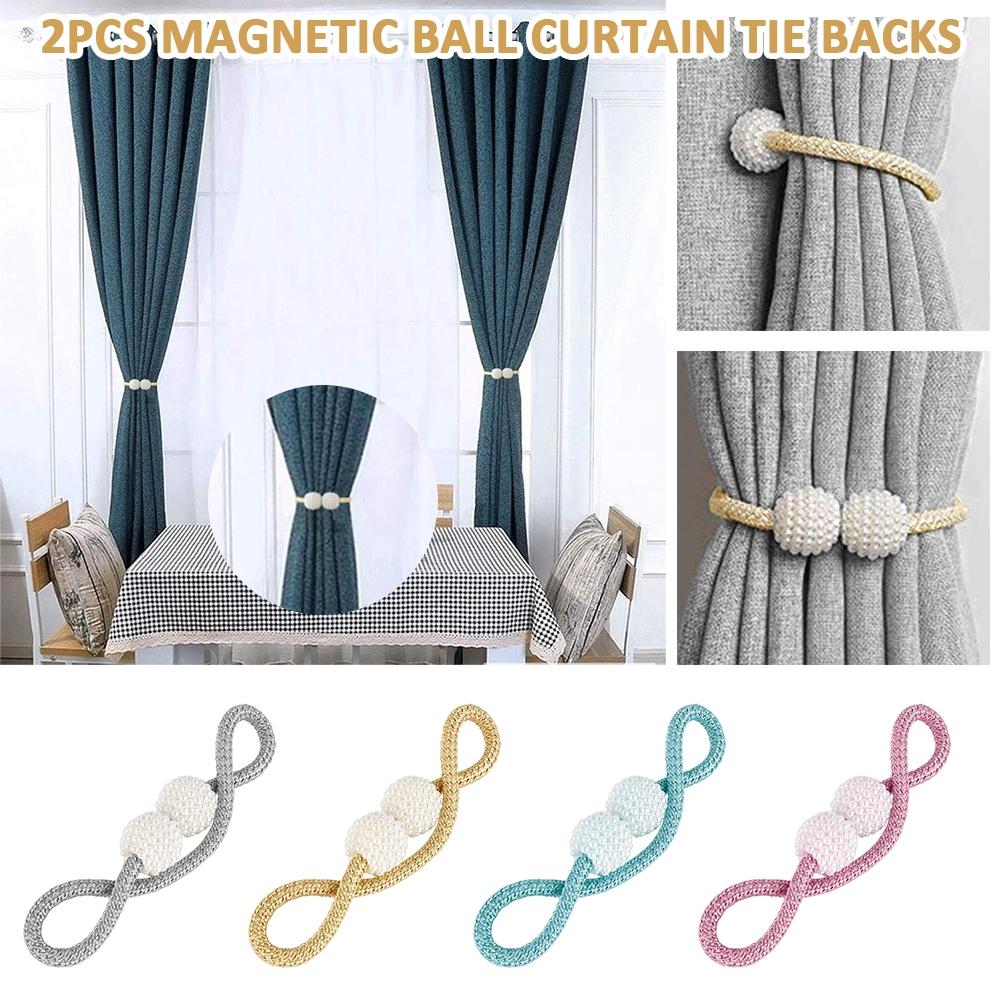 on sale 2pcs magnetic ball curtain tie backs gray curtain holdbacks buckle clips pearl