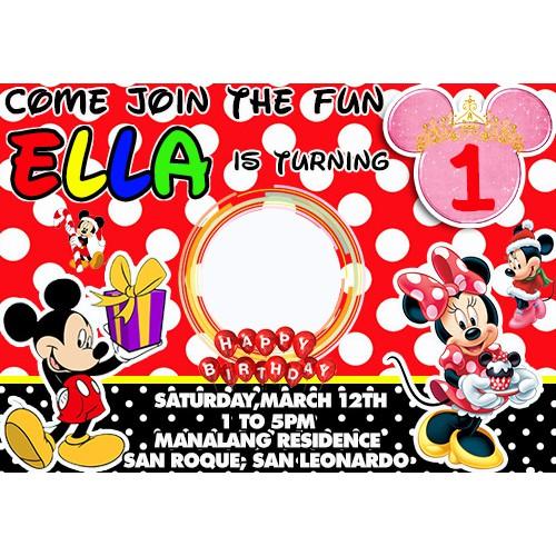 mickey mouse minnie mouse theme invitation birthday invitation
