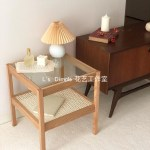 Simple Style Designer Glass Rattan Square Coffee Table Corner Solid Wood Shopee Philippines