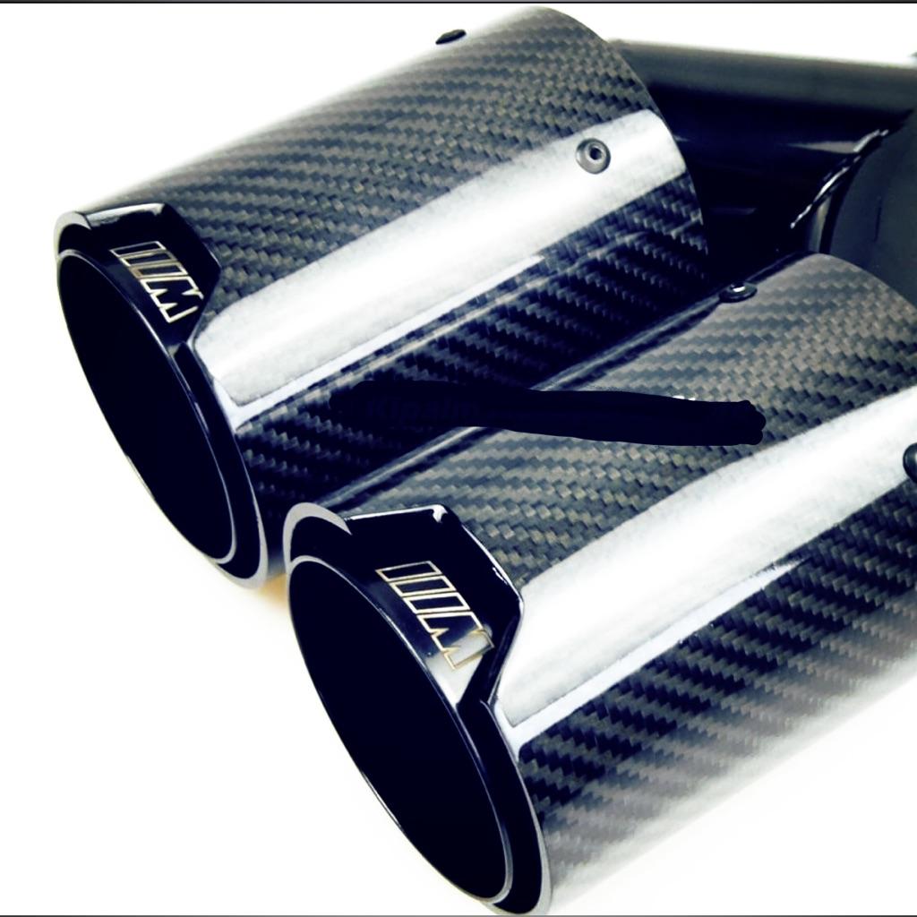 bmw quad exhaust tip glossy carbon fiber m performance one set