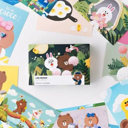 Line Friends Brown Bear Cony Sally Postcard Greeting Card Paper Card Birthday Card | Shopee Singapore
