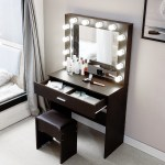 2020 New Vanity Set With Lighted Mirror Cushioned Stool Dressing Table Bedroom Vanity Makeup Table Hot Free In Stock 4 7 Deliver Shopee Singapore