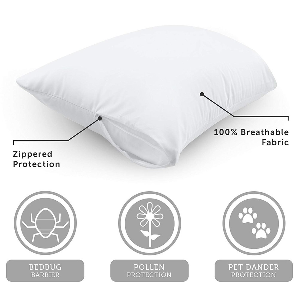 buy1 get1 free 48x74cm pillow cover anti mites bedbug proof zipper waterproof pillow protector for home hotel pillow