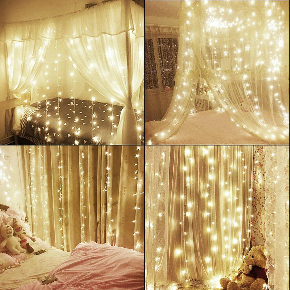 300 led 3x3m string fairy light curtain backdrop lights christmas party wedding festival decor