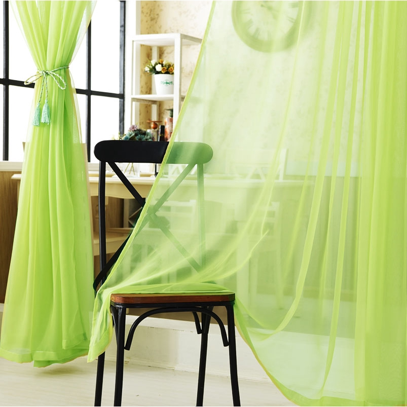ready stock cheap tulle curtain green yellow orange sheer curtains blinds drape panel sheer scarf valances