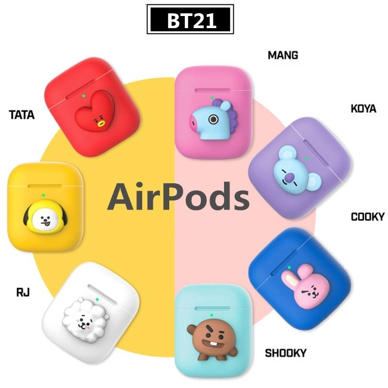 KPOP BTS BT21 Cartoon Cute Character Airpods Case Silicon Cover Fans Gifts | Shopee Singapore