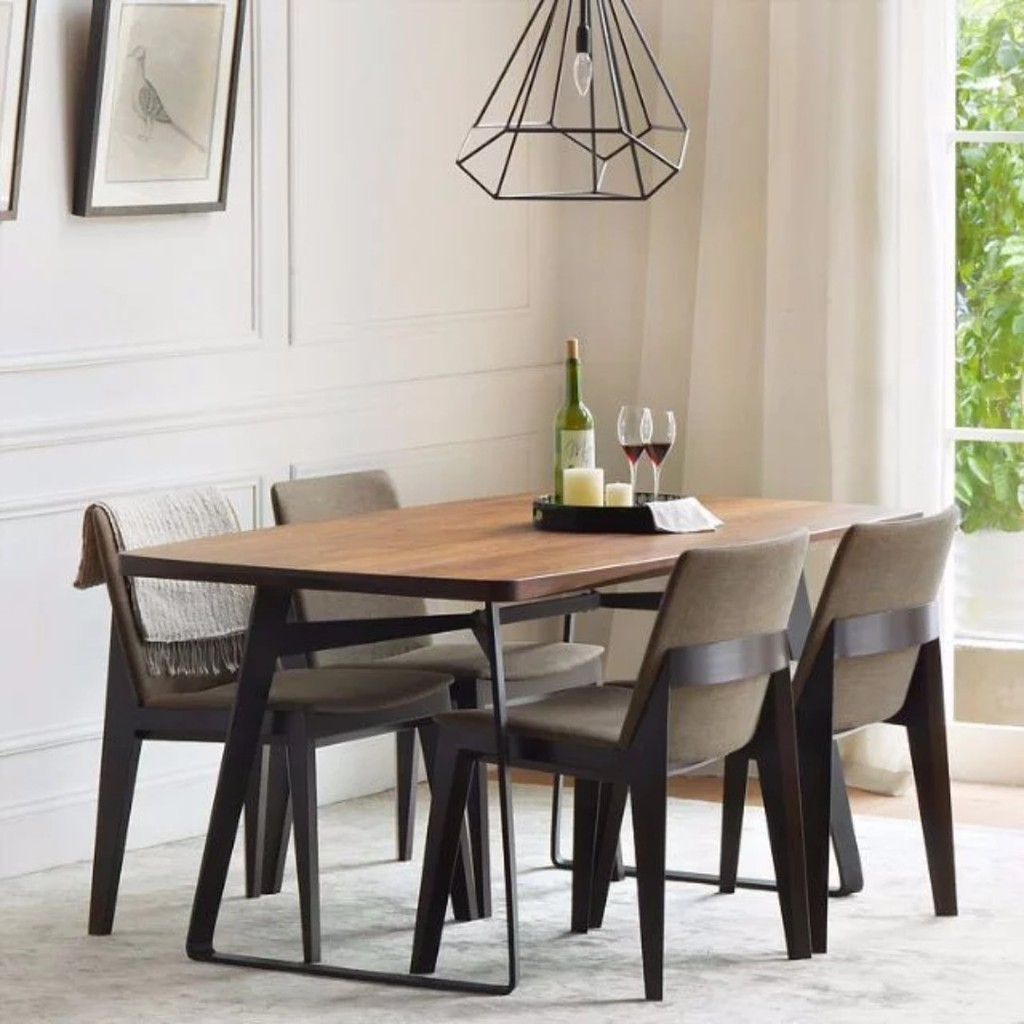 You could even incorporate a fireplace centerpiece at the middle; TSDT 00E Solid Wood Dining Table Chair   Shopee Singapore