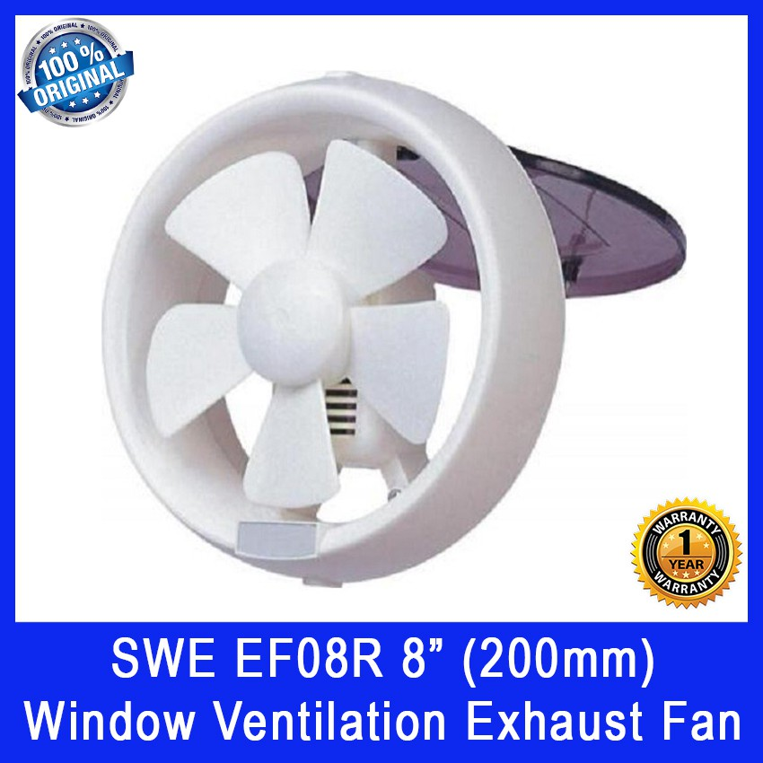 swe ef08r 8 inch 200mm window ventilation exhaust fan power 18w voltage 230v pull string shutter on off 1 year w