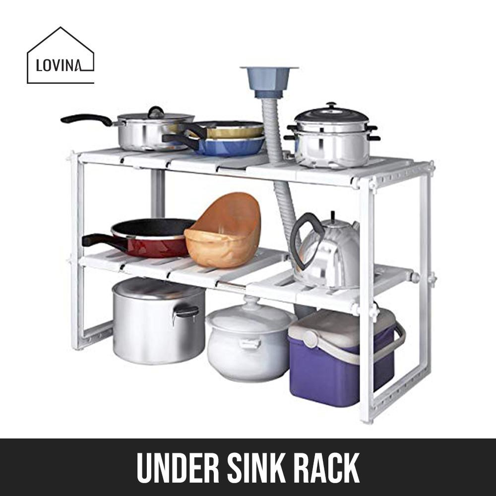 under sink kitchen rack shelf stand storage cabinet organizer bathroom space arrangement adjustable length