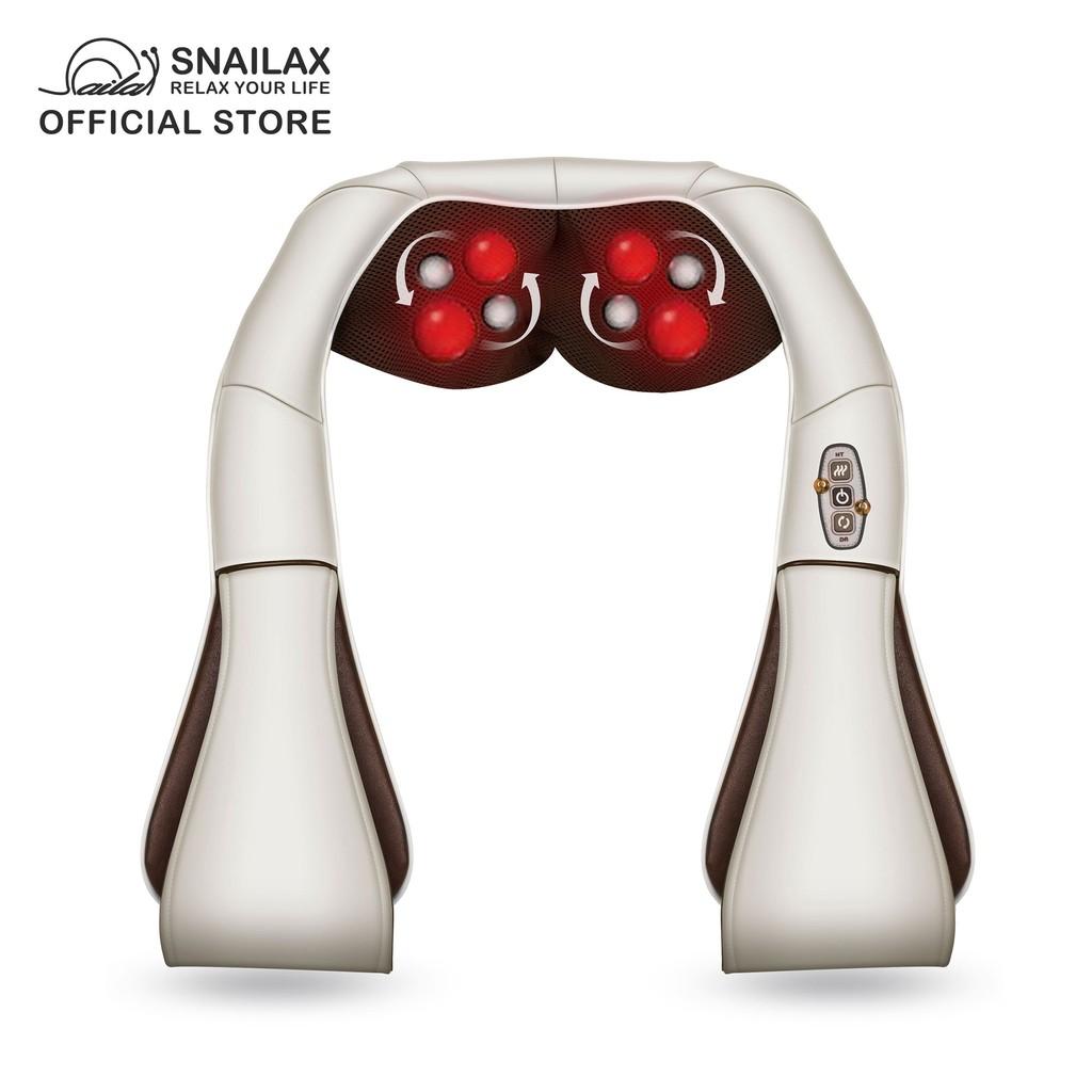 snailax sl 632be shiatsu neck shoulder back massager with heat deep kneading massage pillow 2 yrs local warranty