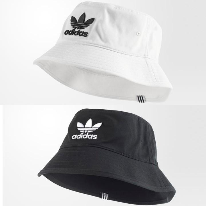 現貨 漁夫帽 Adidas bucket Hat BK7345 復古 三葉草 白 黑 盆帽 防曬帽 遮陽帽子 | 蝦皮購物
