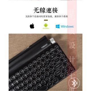 【現貨免運】圓點復古打字機機械鍵盤朋克鍵帽手機平板MAC藍牙真機械鍵盤超薄筆電無線鍵盤外接電腦鍵盤 ...